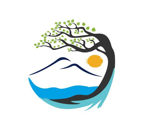 view of the mountain and tree vector logo
