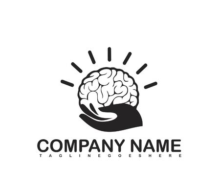 brain in the hand. bright lights, charity logo. vector