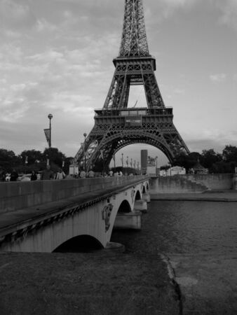 Black and white Paris France Eiffel Tower on the Seine river