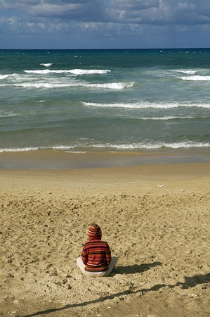 Meditating on the Tel Aviv Beach photo