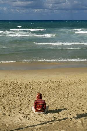 Meditating on the Tel Aviv Beach photo