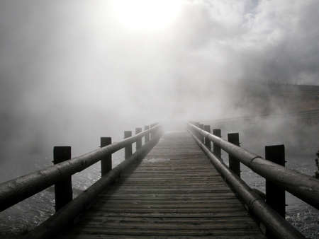 sconosciuto: Percorso in legno nella nebbia