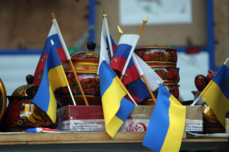 Ukraine and Russia flags photo