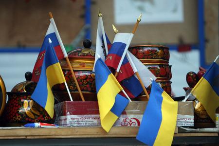 secession: Ukraine and Russia flags
