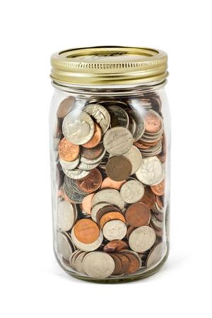 A full mason jar of change. Stock Photo