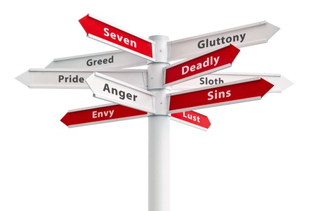 seven: Seven deadly sins on crossroads sign arrows.