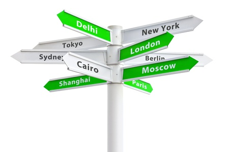 International cities on crossroads sign. Stock Photo