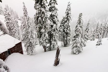 Mountain cabin burried in a mountain of snow during a winter blizzard near Lake Tahoe California Nevada photo