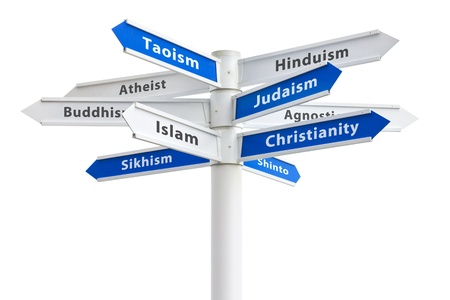 Major religions of the world on a crossroads sign  Featuring  Christianity, Islam and Judaism