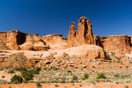 canyonland: Rocky cliff wall of a desert canyon in Arches National Park, Utah USA Stock Photo