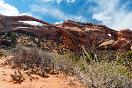 canyonland: Landscape Arch desert scene in Arches National Park Utah USA Stock Photo