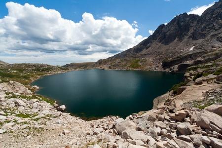 alpine tundra: Alpine lake in the tundra of the Colorado Rocky Mountains
