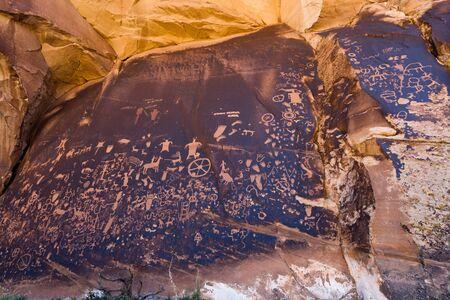 Native American petroglyphs Newspaper Rock in Canyonlands Utah photo