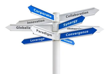 Corporate buzzwords op een bord geïsoleerd op wit: synergie + paradigma + groei etc