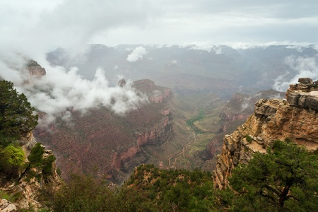 inversion: Grand Canyon landscape with rare cloud inversion weather