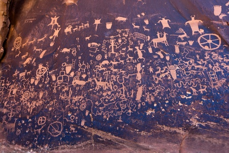 indian artifacts: Native American petroglyphs Newspaper Rock in Canyonlands Utah
