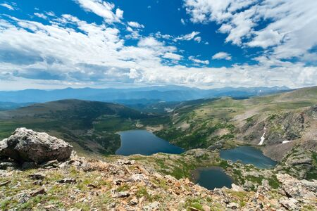 Landscape of alpine mountain lakes in the Colorado Rockies Stock Photo