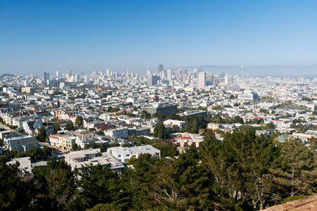 san fran: San Francisco dowtown skyline on a clear sunny summer day Stock Photo