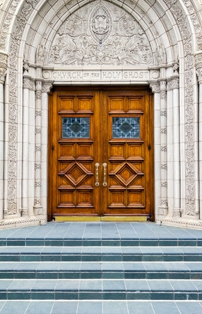 Stairway to Heaven Wood Church Door Stock Photo