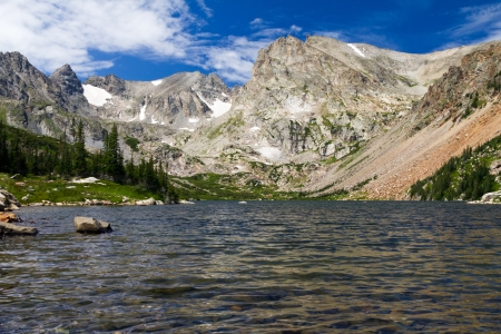 Lake Surrounded by Colorado Rocky Mountains Landscape Stock Photo