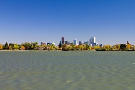 denver: Denver Downtown Skyline From Sloans Lake Park Stock Photo