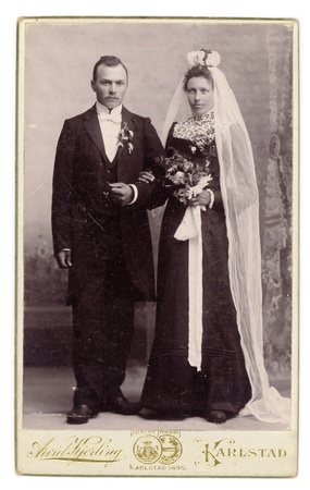 old photograph: Antique 1895 Wedding Photo Bride in Black Dress   Groom in Tuxedo