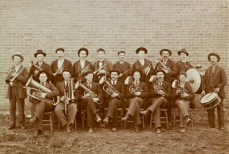 marching: Marching Band from Great Bend, Kansas Vintage 1918 Photograph