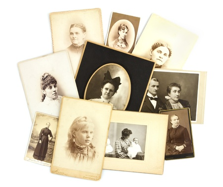 photo album book: Antique Photos Collage on Isolated White Background