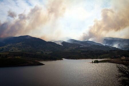 horsetooth reservoir: High Park Wild Fire across Horsetooth Reservoir