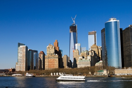 world trade center: Manhattan Skyline in New York City Stock Photo