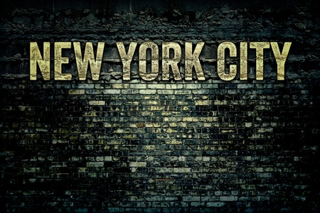 New York City Words on Grunge Brick Background Texture