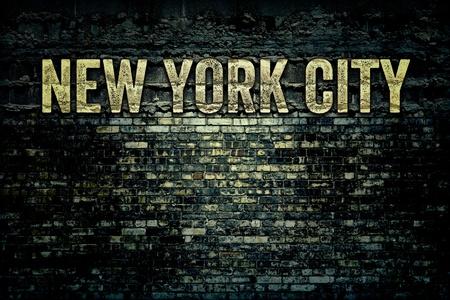 New York City Words on Grunge Brick Background Texture