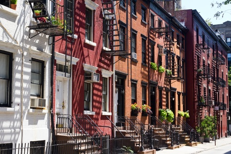 Huizen op Gay Street, Greenwich Village New York