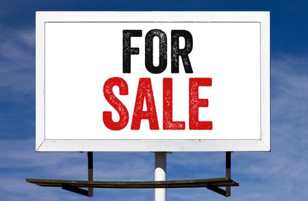 For Sale Message on a white billboard advertisement sign photo