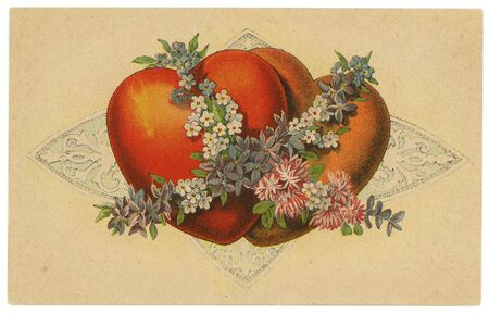 postcard design: Vintage Early 1900s Postcard with Hearts and Flowers Design Textured Background Stock Photo