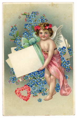 postcard background: Vintage 1910 Greeting Postcard with Cupid, Hearts, Flowers and a Blank Sign