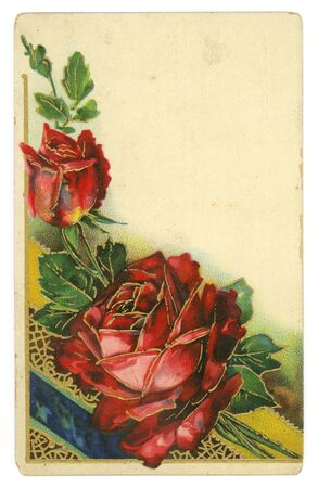 Red Roses Background Texture Vintage 1900s Greeting Postcard photo