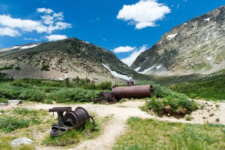 gold rush: Old rusty mining equipment in the Colorado mountains