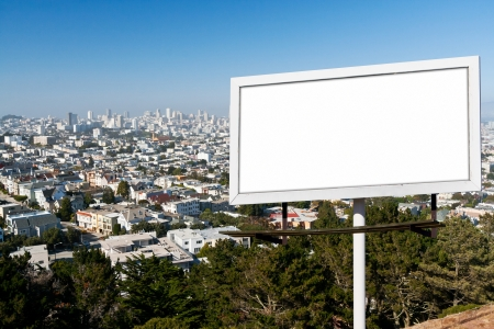 Blank billboard sign with white background above the San Francisco, California Skyline