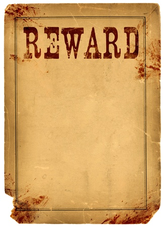 rewards: Bloody stained old western reward poster made from real antique 1800s paper
