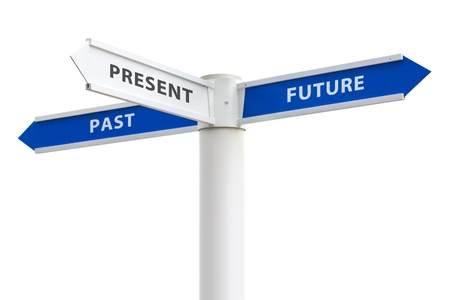 Past Present and Future on crossroads sign arrows isolated on white background photo