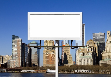 blank center: Blank billboard sign against New York City skyline background Stock Photo