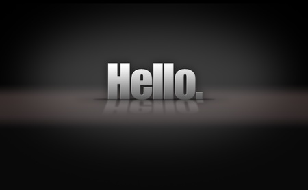 reflective: Hello greeting on reflective 3D background stage Stock Photo