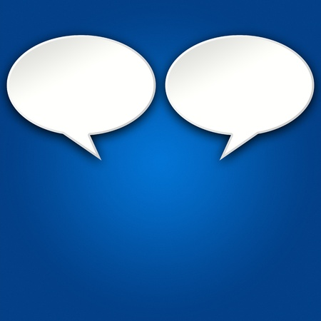 Two blank chat bubbles talking to each other on blue background