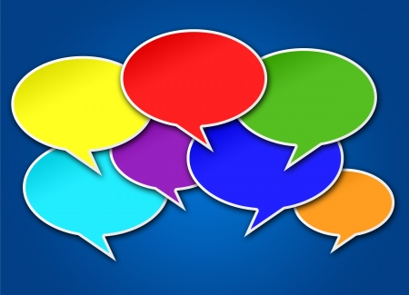 chats: Colorful chat bubbles conversation crowded on blue background Stock Photo