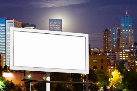 skyline of denver: Blank advertising billboard sign against downtown city skyline