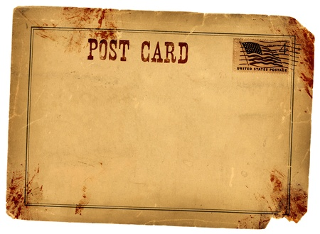 Bloody stained old vintage postcard made from real antique 1800s paper photo