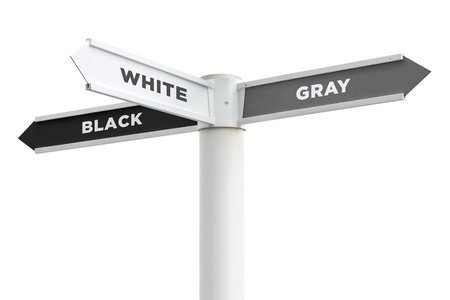 inconclusive: Black White Gray Crossroads Sign Isolated on White Background