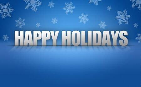 holidays: Happy Holidays 3D text on blue snowflake background pattern