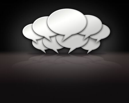 chats: Chat bubbles crowded together on dark background template Stock Photo